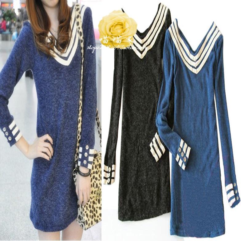 Женское платье Осень/зима 2012 новые женские длинные узкие полосы флота шерстяной свитер с длинным рукавом дна рубашки t рубашка