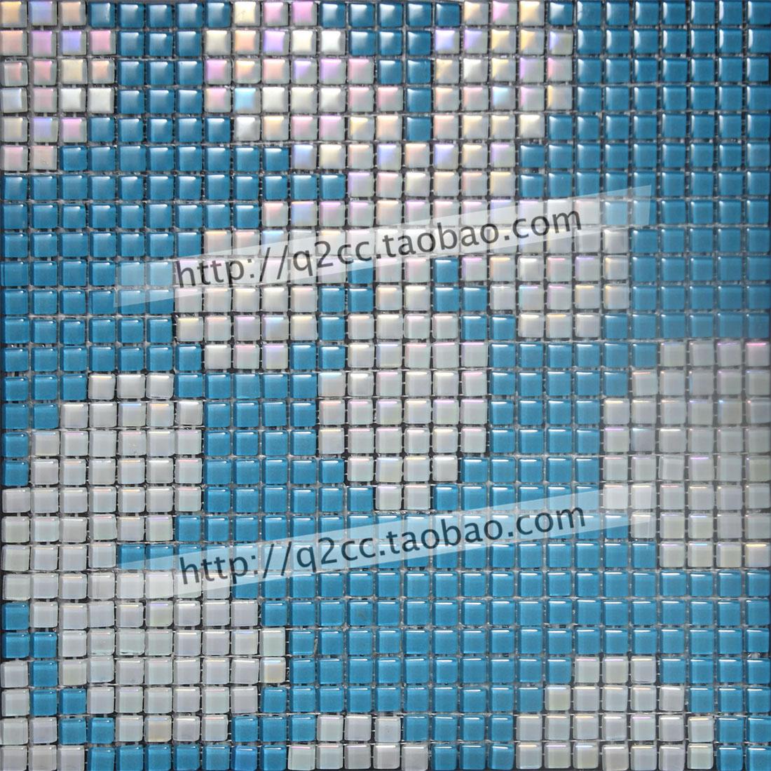 蓝色水晶玻璃马赛克拼花拼图背景墙贴瓷砖 卫生间浴室 地中海风格