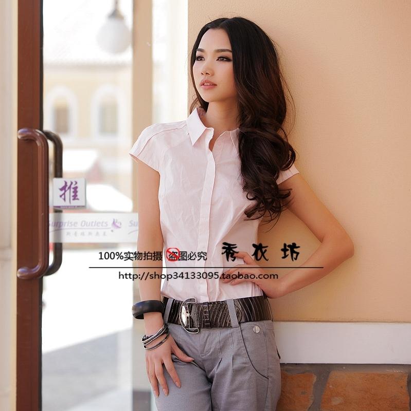 женская рубашка Vero MODA 2918 Городской стиль Короткий рукав Однотонный цвет Отложной воротник Один ряд пуговиц