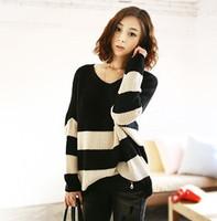 2013新款韩国黑白条纹针织衫毛衣大码韩版长袖套头v领毛线白色型