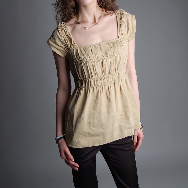 женская рубашка P009 OL Без рукавов Квадратный воротник