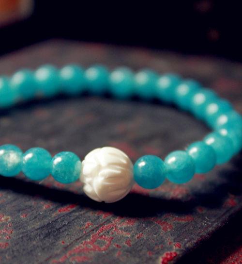 牛骨莲花纹 天然海蓝晶 原创设计 手链