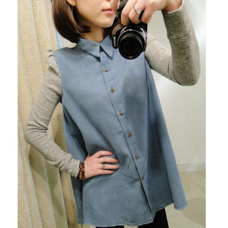 женская рубашка Высокое качество версия корейской версии длинные свободные джинсовые рубашки плюс размер длинный рукав блузки жира мм кукла грунтовка рубашки