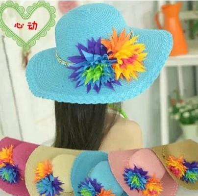 Головной убор Электронной почты корейских девочек Hat лето хет двойной цвет цветок принцесса Хат большой карниза тени Лян Мао пляж шляпа