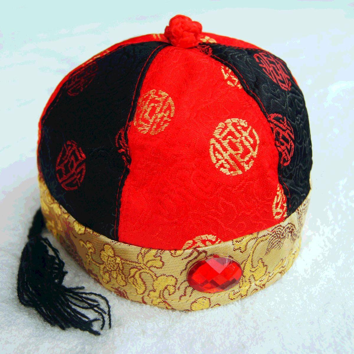唐人堂 唐装瓜皮帽阿哥帽太子帽儿童唐装皇帝帽节日礼服帽子黑红