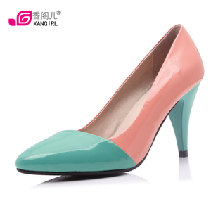 [Cat new fashion] Xiang GE 2012 new candy color colour matching high heel danxie leather women shoes