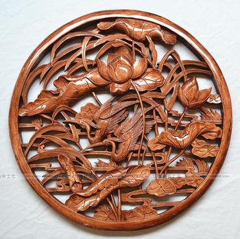 挂件 仿古中式装修 木制壁挂舞鹤香荷 东阳木雕香樟木雕刻工艺品
