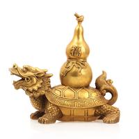 聚缘阁风水纯铜龙龟葫芦摆件龙头龟小葫芦家居饰品招财平安铜葫芦