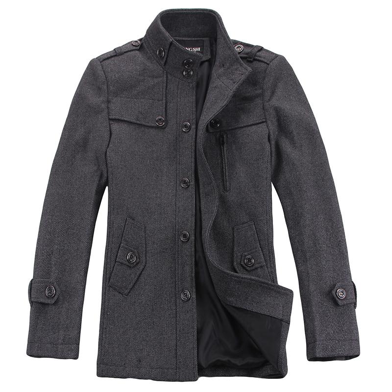 Пальто мужское Lions Шерстяная ткань для пальто Без воротника со стойкой