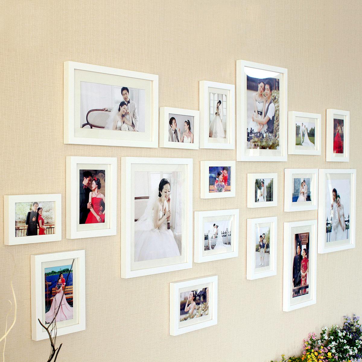 全悦实木质照片墙家居客厅生活结婚照相片墙相框创意组合像片装饰