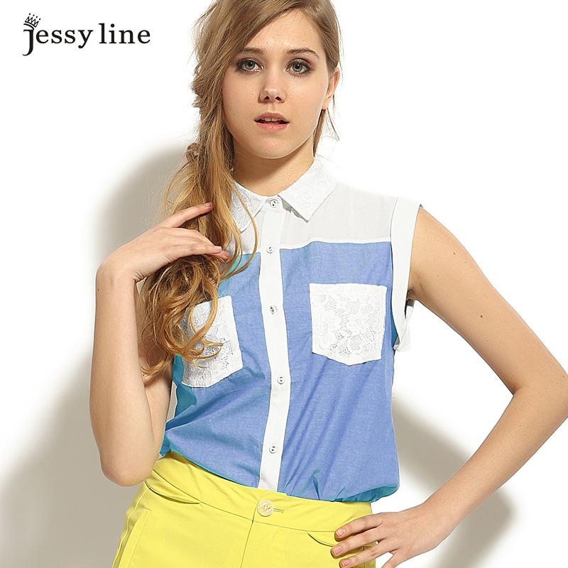 jessyline2014杰茜莱夏装新款 女士无袖衬衫 女士拼接雪纺衬衣 女