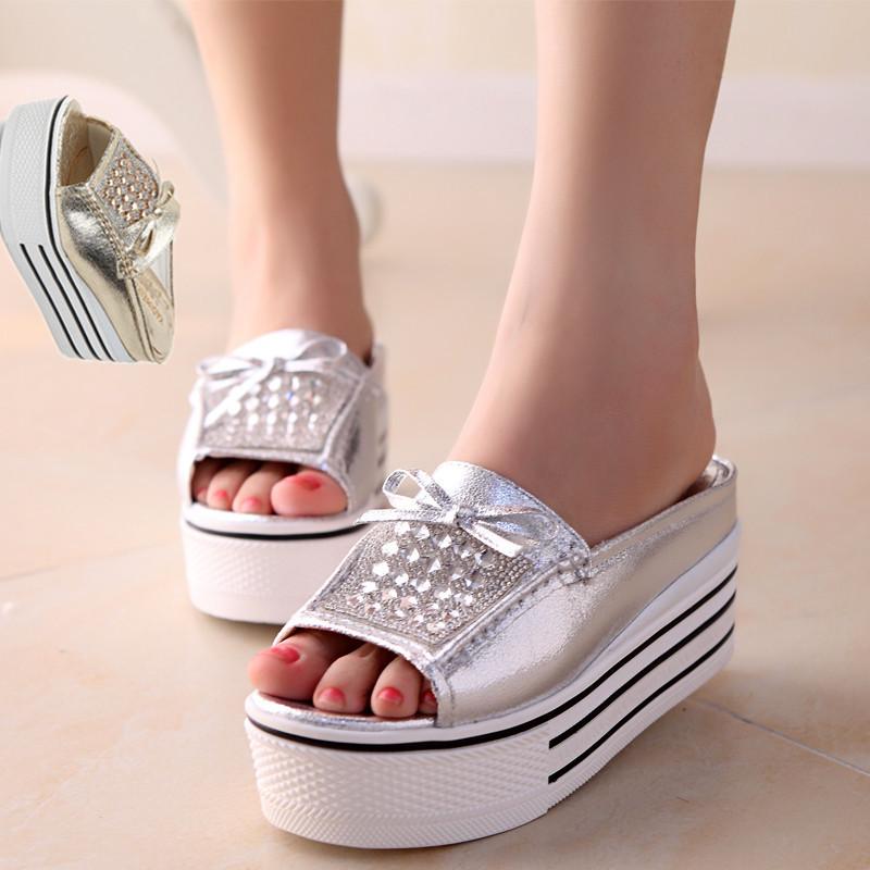 【图】镶钻金色银色松糕鞋厚底休闲一字凉拖鞋女凉鞋