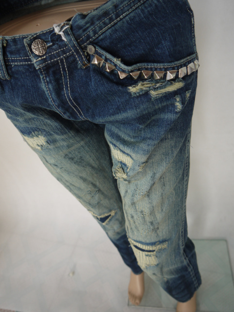 Женские брюки Отверстие в счетчик тела красоты старой джинсовой прямо ного скота товаров Длинные брюки Прямые Городской стиль Разное Заклепки