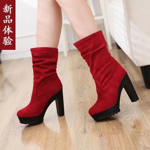 Широкий каблук Без шнуровки Высокий каблук (более 8 см) Клееная обувь Водонепроницаемая платформа Однотонный цвет