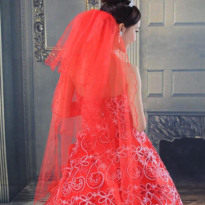 天使依涵红色新娘头纱3层珍珠头纱新娘头婚纱礼服配件 TS50
