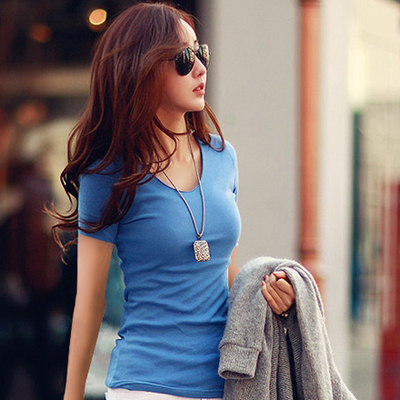 2014 spring new Korean yards Slim white short-sleeved t-shirt female solid color cotton V-neck T-shirt bottoming shirt summer