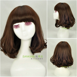 Long wig with short hair in black hair Lady wig Qi Liuhai PEAR head wild  female wig