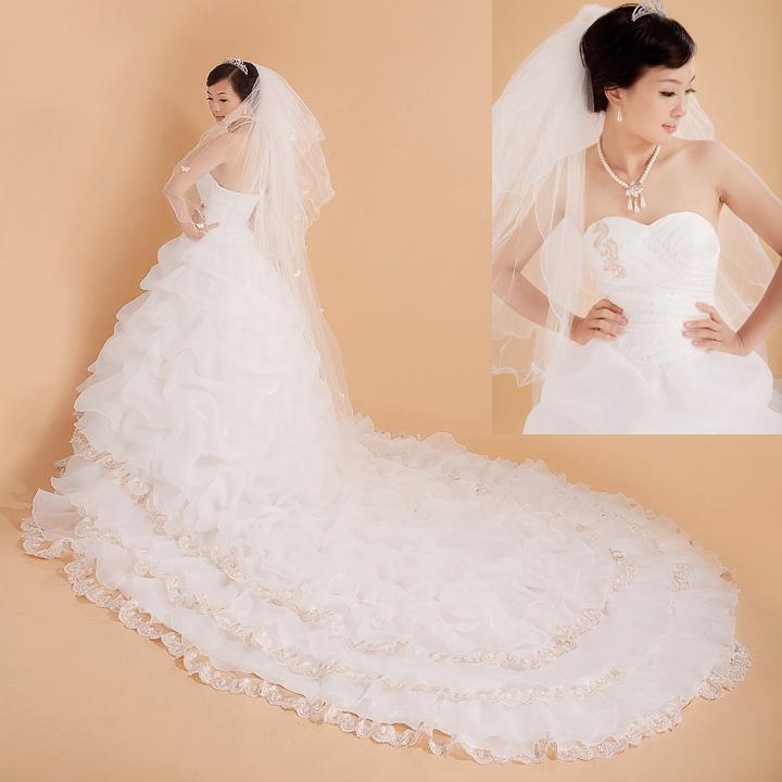 Свадебное платье 2012 2012 Плотная ткань Длинный шлейф Принцесса