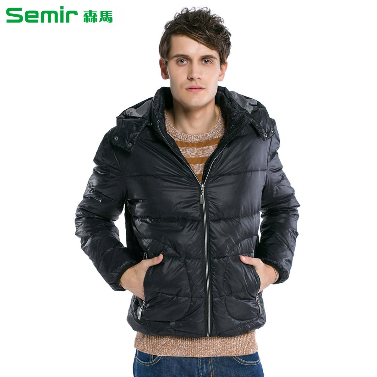 森马2013冬装新款男士加厚羽绒服可脱卸帽纯色百搭图片