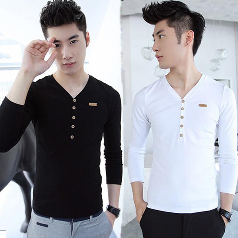 秋冬季韩版修身男士长袖T恤条纹V领休闲个性打底衬衫潮男装上衣服