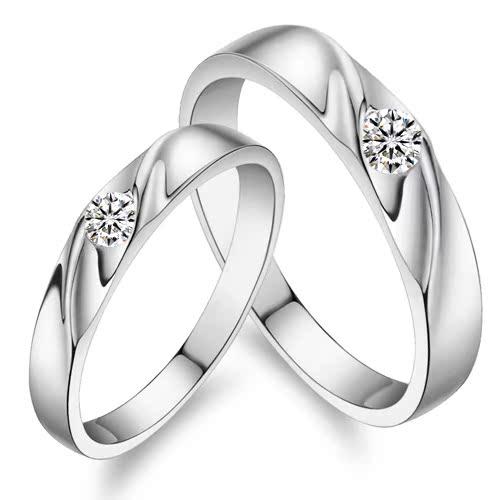 SN 925纯银戒指 情侣 对戒 可刻字 正品韩版钻石戒子