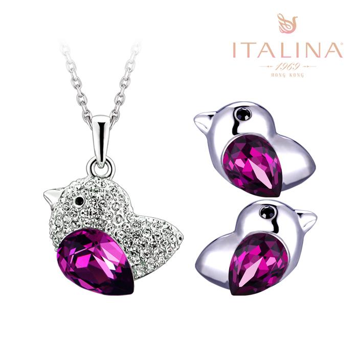 伊泰莲娜正品 水晶项链耳环套装女天堂鸟送礼