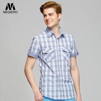 美切罗纯棉短袖衬衫男格子衬衣 修身短袖衬衫休闲潮男衬衫