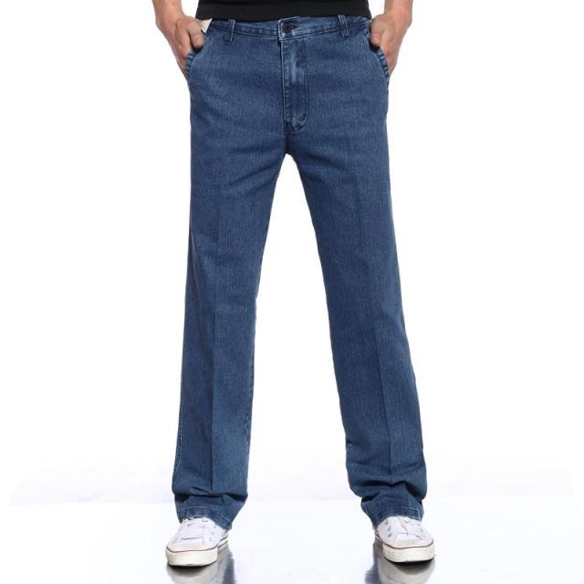 middle-aged men's jeans, high waist elastic casual jeans loose dad straight increase plus fat pants special