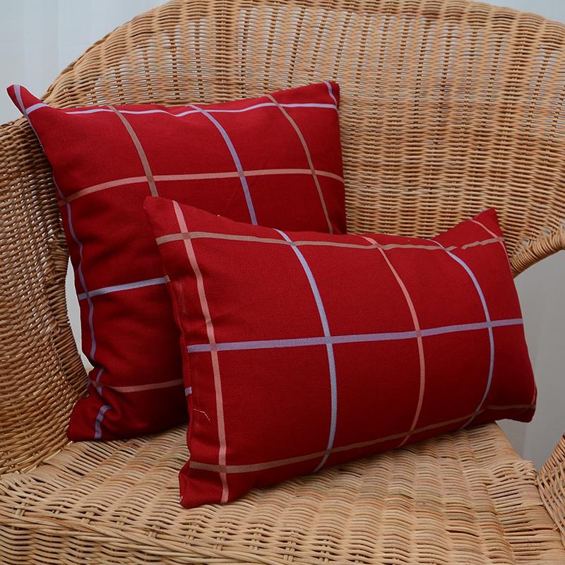 时尚家居布艺北欧式宜家酒红格子床头靠背套靠包靠垫套沙发抱枕套图片