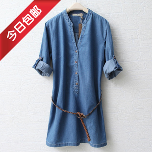 2012 spring clothing new Europe and  spring MaxMara collar long sleeve washed denim dress belt feeding WQ1302