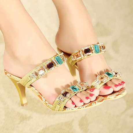 2014 summer new Korean version of the luxury diamond high-heeled sandals, sandals and slippers in fine with gold sandals with shoes