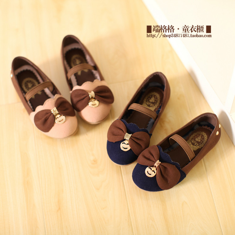 Spring 2014 Korean version of women's shoes spell color bow princess girls shoes children shoes smile soft Didan