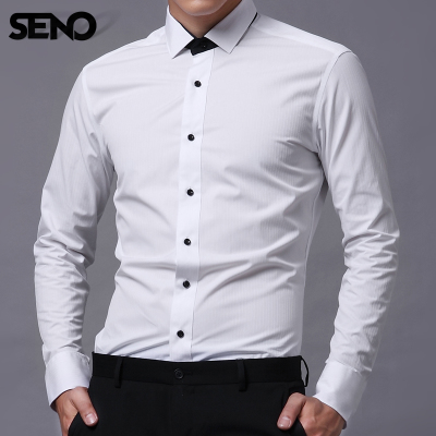 Seno men's long-sleeved shirt Slim stitching fake business trends autumn and England tie small square collar white shirt