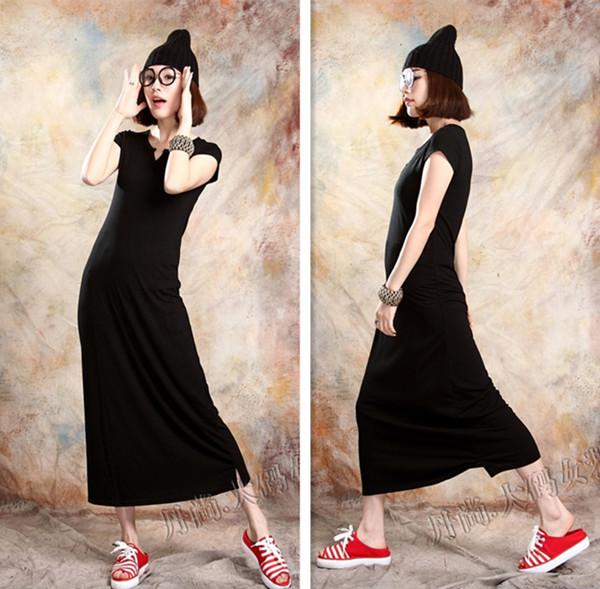 Женское платье Весна/лето 2014 новой Европы и большой стрейч тонкий тонкий ultra длинные платья этаж длины платье с короткими рукавами плюс размер