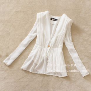 2012 Summer new small suits one button in Europe and Korean chiffon shrug bubble sleeve suit women