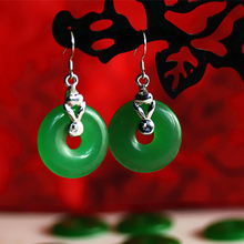 Manufacturers selling authentic Malay jade earrings ear hook Emerald contracted peace button earrings earrings women jewelry