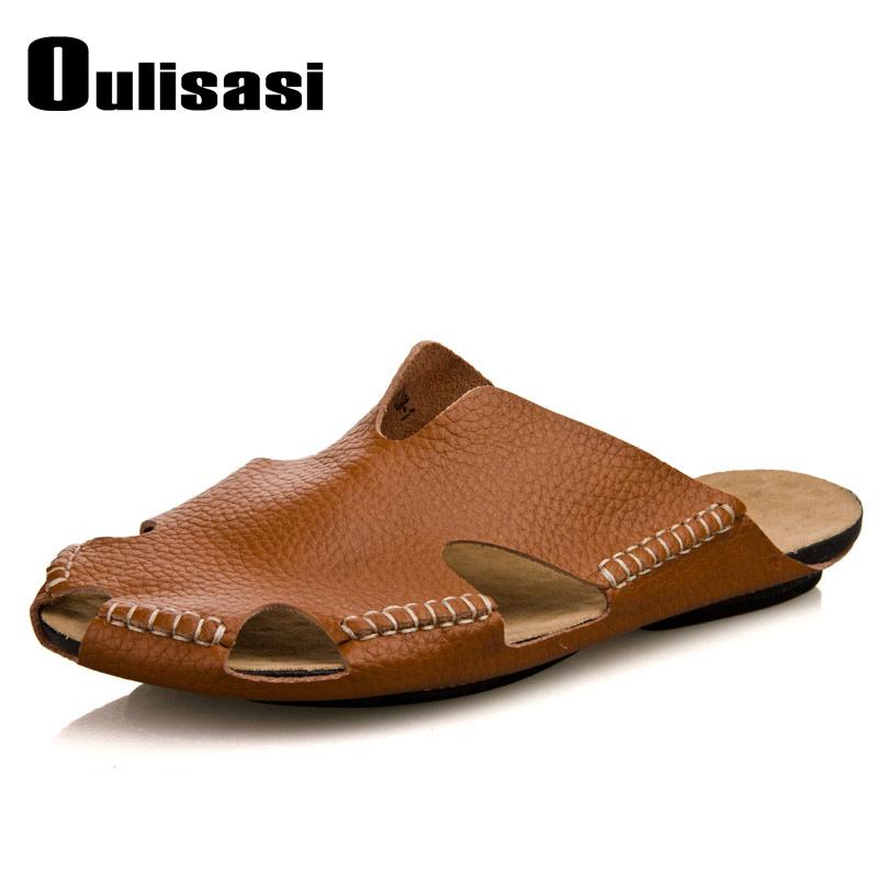 欧利萨斯 透气正品拖鞋牛皮休闲凉鞋人字拖男士凉拖沙滩鞋男式鞋