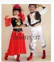 儿童新疆舞蹈服装维族舞蹈服装团体舞民族舞台表演服装女孩男孩