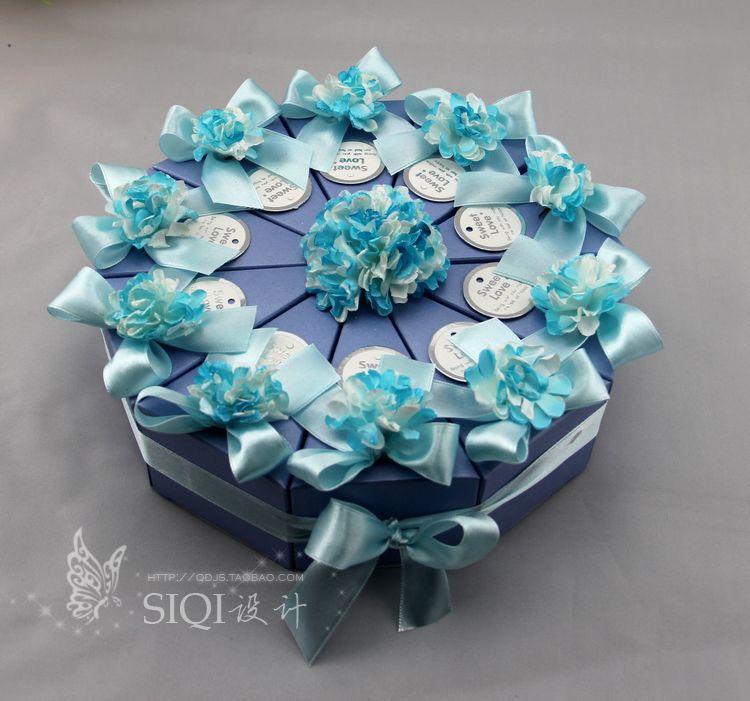 婚庆个性创意 定制 欧式  喜糖盒子 浅蓝色蛋糕盒 含配件 半成品