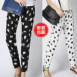 2014 new casual pants plus size floral print chiffon pants in women's casual flower chiffon pants harem pants