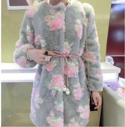 korean style rose plush fur coat jacket