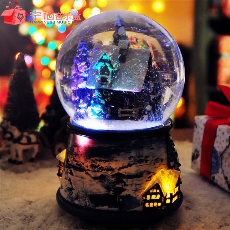 圣诞节平安夜小屋下雪水晶球内外旋转发光音乐八音盒创意精品礼物