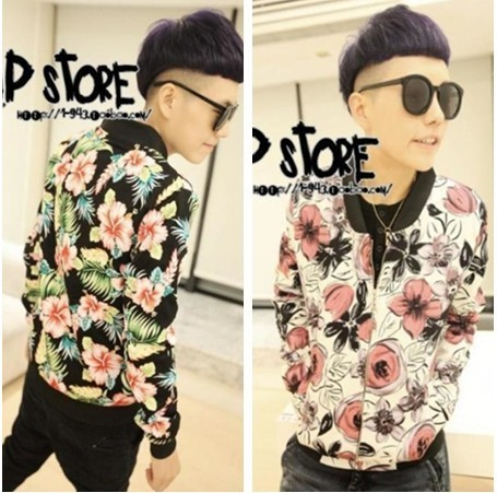 2012 tide male flowers flower forest Crescent coat without collar coat cotton slim short zipper jacket-coat