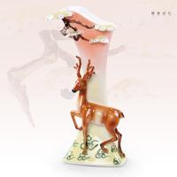 欧式家居装饰工艺品现代简约陶瓷电视柜客厅摆件珐琅瓷鹿花瓶包邮