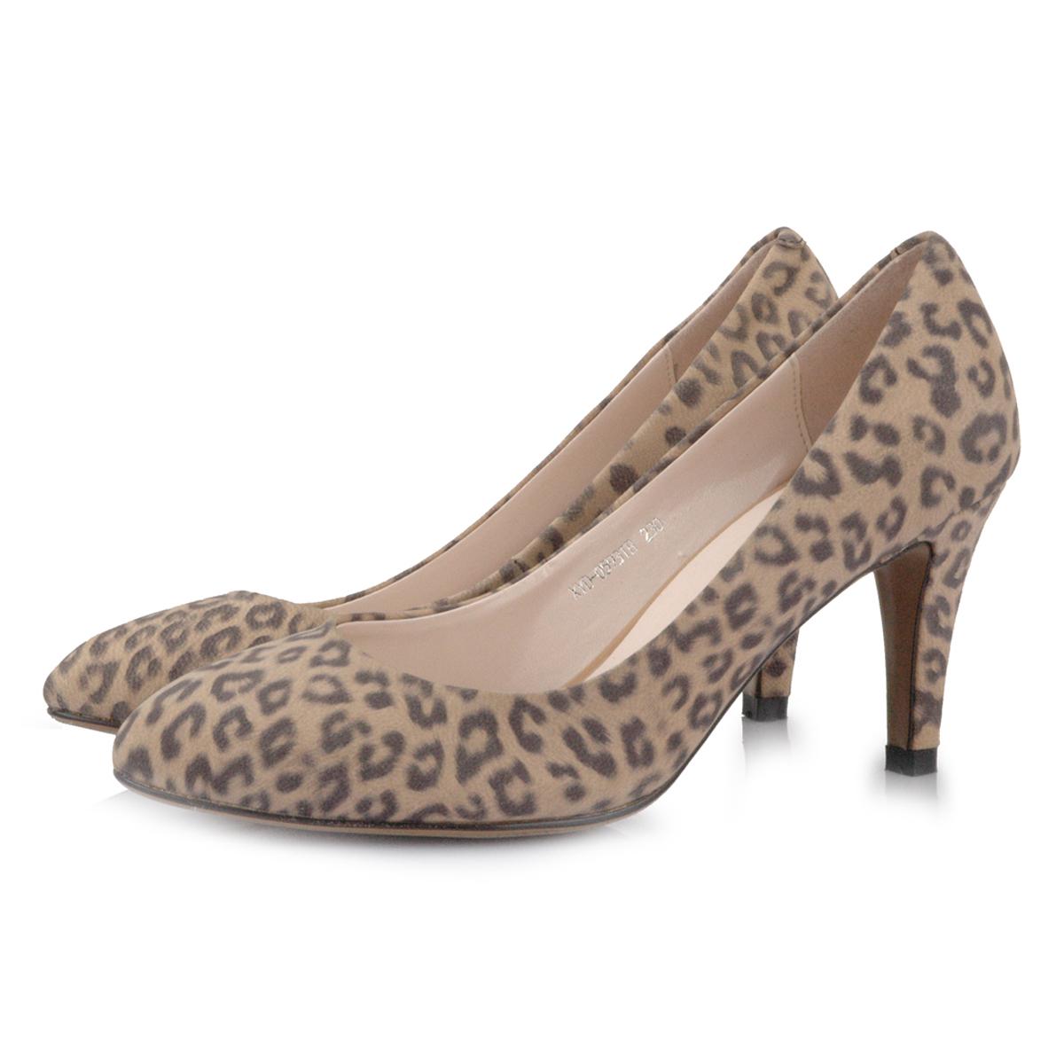 春秋季新款浅口牛皮豹纹尖头高跟鞋 真皮细跟印花皮女鞋