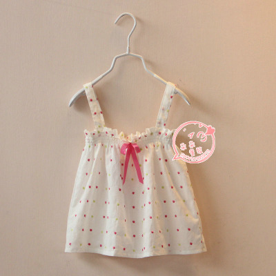 In the summer of thin doll vest han edition of foreign trade children's clothes Baby girl embroidered embroidery wavelet some cotton small condole belt unlined upper garment