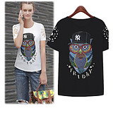 Europe and ladies t shirts OWL animal print cotton stencil printing short sleeve t shirt girls t shirt printing blouse