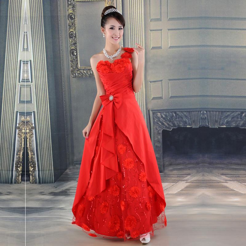 天使依涵新娘礼服 抹胸长款晚礼服 结婚红色敬酒服 单肩LF241