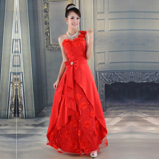 Angel yihan MaxMara wedding dresses one-shoulder red gown beautiful Daisy bridesmaid clothing LF241