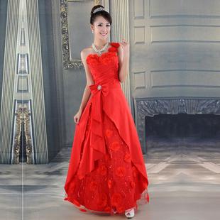 烁暖耀初冬新娘婚纱红色长款抹胸金礼服